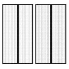 vidaXL 2x Insect Door Curtain 210x100cm Magnet Black Anti Mosquito Mesh Net
