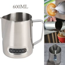 600ML Milk Jug Frothing Frother Coffee Latte Container hermometer