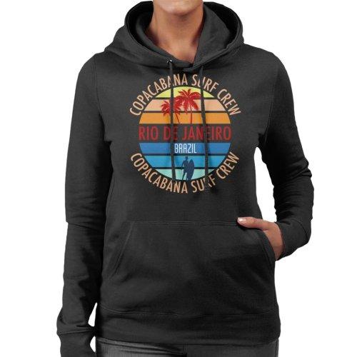 (X-Large, Black) Copacabana Surf Crew Women's Hooded Sweatshirt