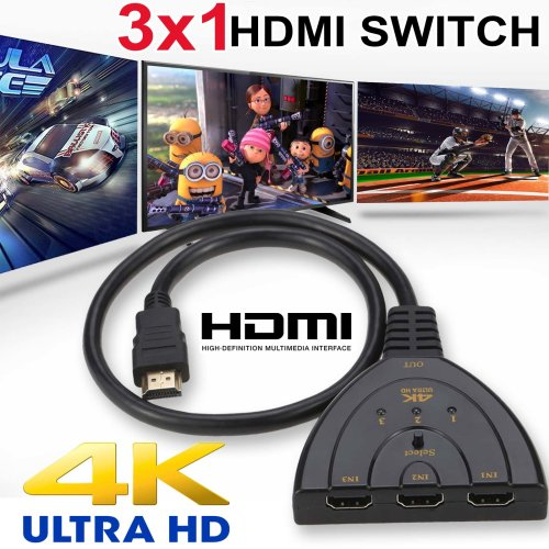 3 in1 Multi HDMI Switch Hub 4K 1080P Display Auto Cable HD TV Adapter