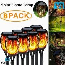 8X PCs Solar Light Waterproof LED Flame Flickering Dancing Garden Lamp