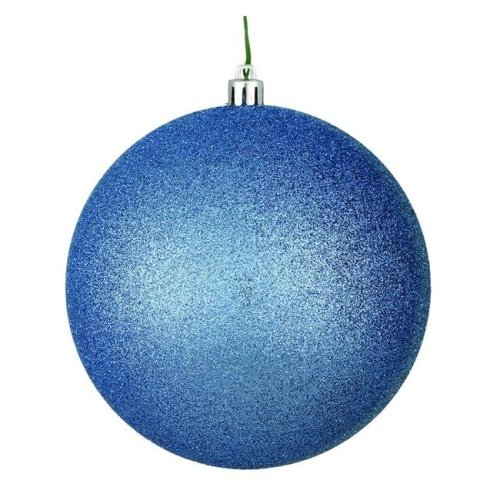 Vickerman N592029DG 8 in. Periwinkle Glitter Ball Ornament with Drilled Cap - Pack of 12