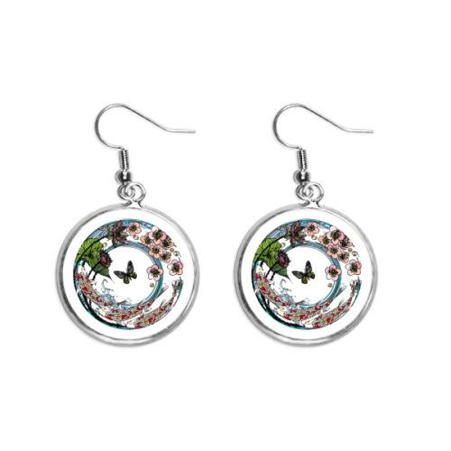 Carp Sakura Lotus Pattern Geometry Ear Dangle Silver Drop Earring Jewelry Woman