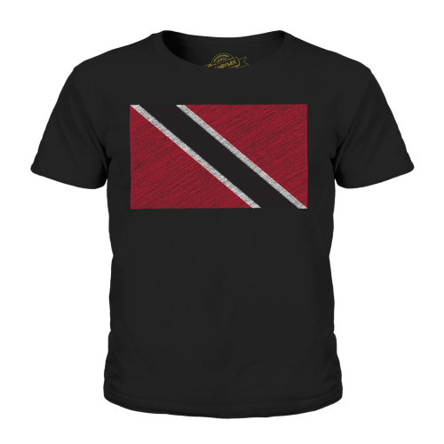 (Black, 11-12 Years) Candymix - Trinidad And Tobago Scribble Flag - Unisex Kid's T-Shirt