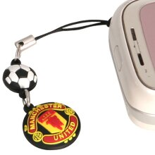 Man Utd Black Crest Phone Charm Dangly - Black