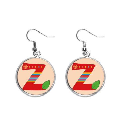 Z Alphabet Orange Fruit Cute Pattern Ear Dangle Silver Drop Earring Jewelry Woman