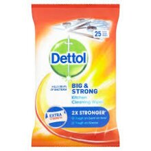 DETTOL BIG & STRONG KITCHEN CLEANING WIPES, EXTRA LARGE WIPES 25