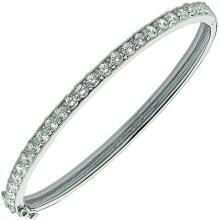 Sterling Silver Diamond Bangle Hinged Hallmarked British Made Gift Boxed