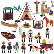 deAO Deluxe Wild West Action Figures Play Set Including Horse Cart, Animals and Tipi with Light, Music and Variety of Accessories