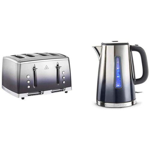 Russell Hobbs 25141 Eclipse Polished Stainless Steel Ombre Four Slice Toaster, Midnight Blue with Kettle