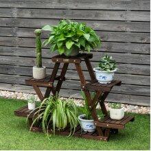 4-Tier Wood Plant Flower Display Stand 6 Pots Garden Shelf Corner Ladder Rack