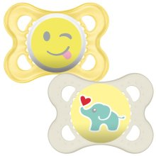 MAM Original 0+ Soother Suitable with Sterilisable Travel Case, Design and Color may vary, Pack of 2