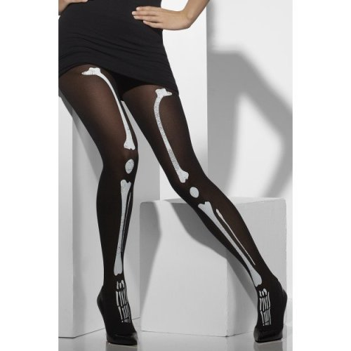 Smiffys Black Tights With Skeleton Print | Skeleton Bone Tights