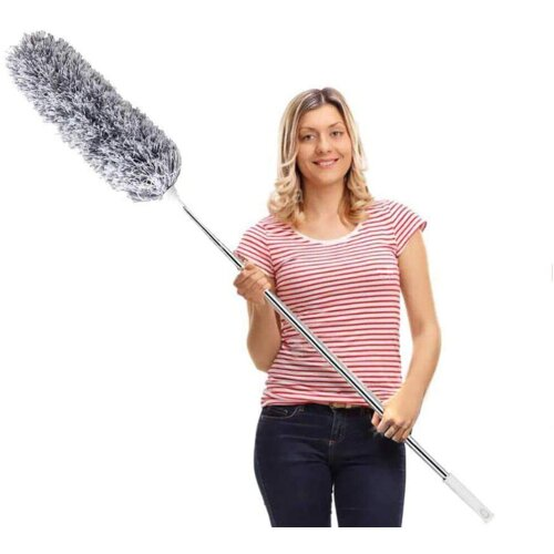 Feather Duster,Extendable Duster Microfiber Long Extension Pole Scratch Resistant Cover, Washable, Cleaning High Ceiling Fans, Blinds, Cobweb