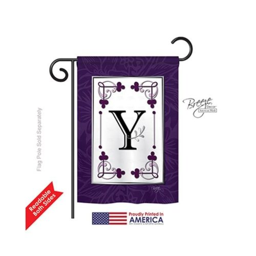 Breeze Decor 80025 Classic Y Monogram 2-Sided Impression Garden Flag - 13 x 18.5 in.