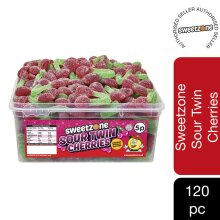Sweetzone Sour Twin Cherries Jelly Sweets Tub HMC Approved 100% Halal 120 Pieces