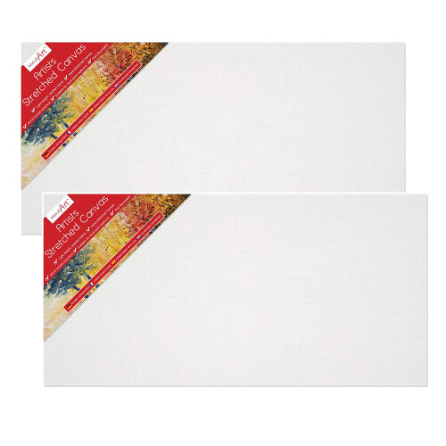 """2 x Blank Cotton Canvas 20"""" x 10"""" Frame Board Stretched Art Oil Acrylic Painting"""
