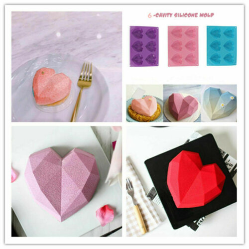Diamond Chocolate Cake Silicone Heart Shaped Mould DIY 3D Cupcake Mold
