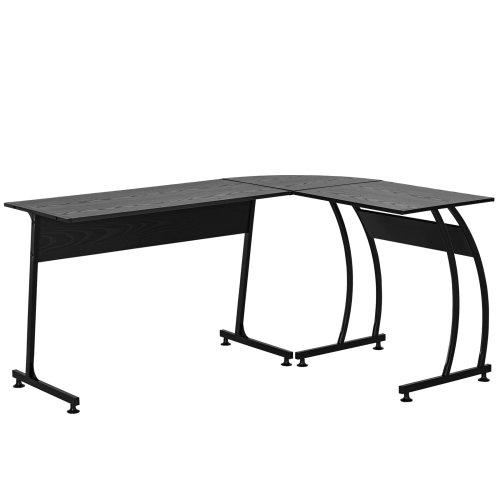 HOMCOM L Shaped Corner Desk Home Office Study Steel Frame Adjustable Feet Black