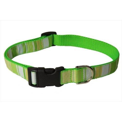 STRIPE-GREEN-MULTI2-C Multi Stripe Dog Collar, Green - Small