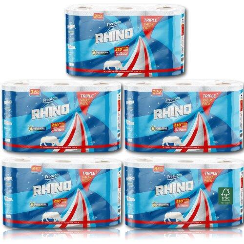 Rhino 3 Ply Triple Value Pack Kitchen Roll, 5 Packs Per Case (15 Rolls)