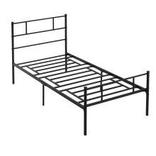 HOMCOM Single Metal Bed Frame w/ Headboard and Footboard, Underbed Storage Space
