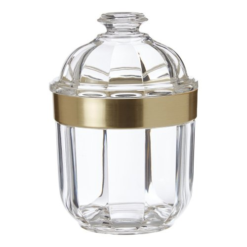 (Small) Fluted design Clear Acrylic Canister Gold Rim