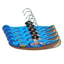 Kidorable Pirate Ship Fun Brown/Blue Hand Crafted Wooden Hangers for Boys Set of 5 12 Inches