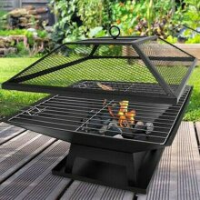 SQUARE FIRE PIT BBQ GRILL HEATER OUTDOOR GARDEN FIREPIT BRAZIER PATIO