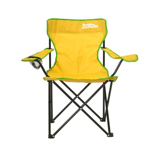 just be...® Folding Camping Chair - Yellow with Green Trim