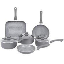 Gr8 Home Induction Aluminium 9 Piece Non Stick Grey Marble Effect Frying Saucepan Grill Pan Pot Set Kitchen Cookware Kit (Improved Design All Pans I