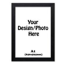 A1 Frame, Black Picture Photo Frames, Flat Wooden Effect Photo Frames