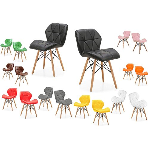 MOF Dining Chairs Wood Legs & Comfortable Padded