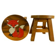 Childs Childrens Wooden Stool - Red Fox