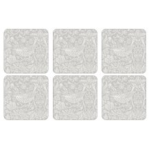 William Morris Pure Strawberry Thief Coasters, Set of 6