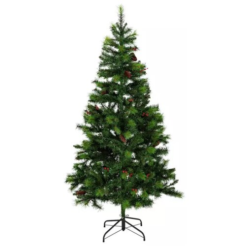 Home 6ft Berry & Cone Christmas Tree - Green