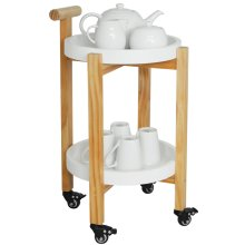 Wood Drinks / Tea Trolley Table with 2 Removable Trays - White / Natural