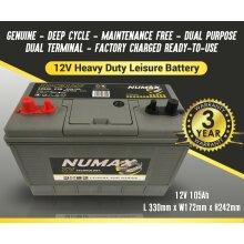 NUMAX XV31MF SEALED LEISURE BATTERY 12V 105AH