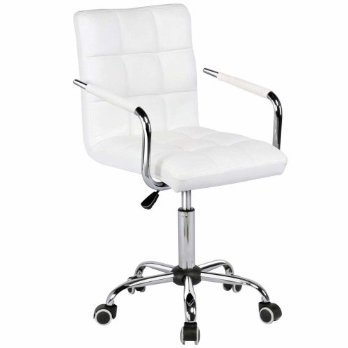 Adjustable White PU Leather Computer Desk Office Chair