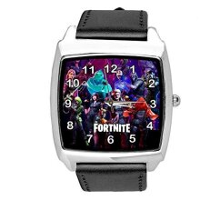Black Leather Square Watch for FORTNITE Fans