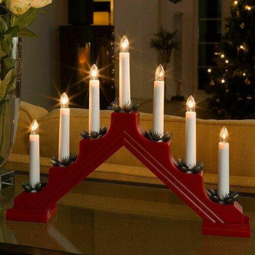 Wooden Candle Bridge Light 7 Bulb Christmas Arch