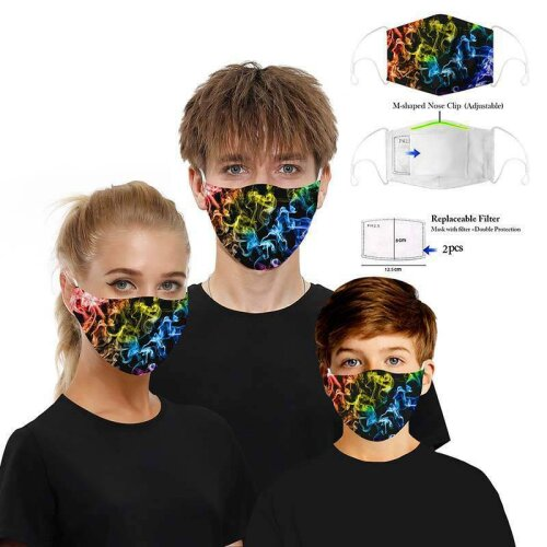 (Multi-Coloured Smoke) 3D Pattern Adult Kids Face Mask Anti-Dust Cospaly Funny PM2.5 Filter Plug in Mask