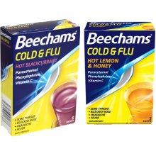 Beechams Cold & Flu Powder TWIN PACK-Hot Lemon & Honey or Blackcurrant