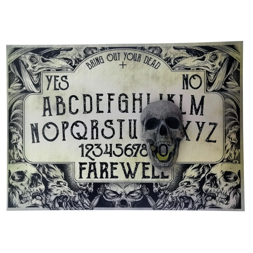 A4 Sized Wooden Plague Ouija Board Set Complete with Screaming Skull Planchette