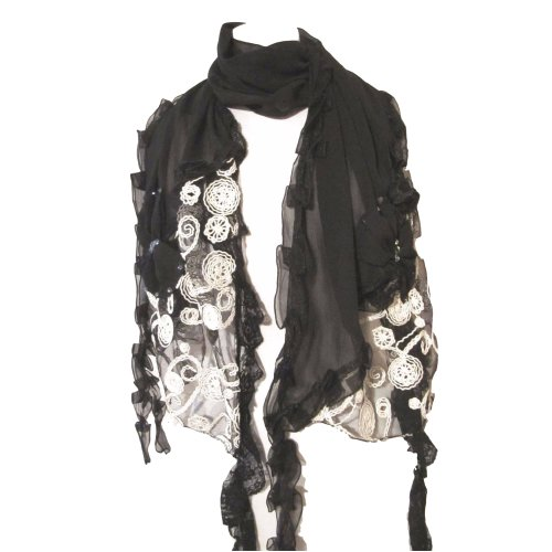 Special occasion scarf - lace with pearls or diamante