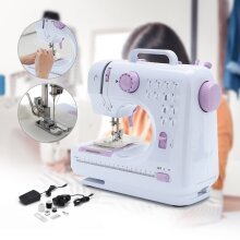 12 Stitch Portable Electric Mini Sewing Machine Overlock 2 Speed Pedal