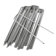 ANSIO Pack of 50 - Garden Pegs Stakes Staples Securing Lawn U Shaped Nail Pins - 150mm/6 Inch, Ideal for Weed Control Membrane/Fabric/Artifical Gras