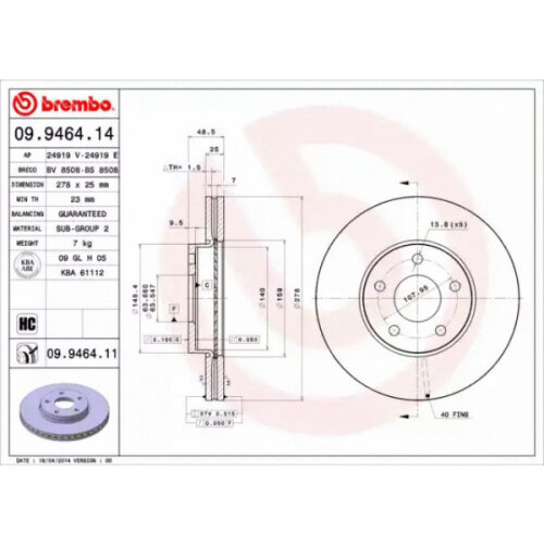 Front Pair (2x) of Brake Disc BREMBO 09.9464.11