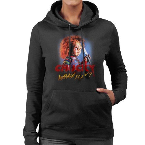Chucky Wanna Play Crazed Face Women's Hooded Sweatshirt