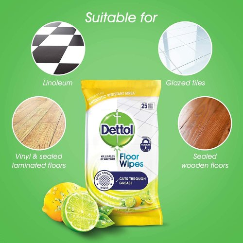 (25pcs wipes x 6 Packets) Dettol Floor Wipes Cleaning Lemon & Lime Big 25pcs Packet